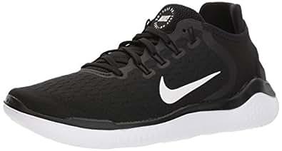 Nike Women's Free RN 2018 Running Shoes, Black/White, 6 US