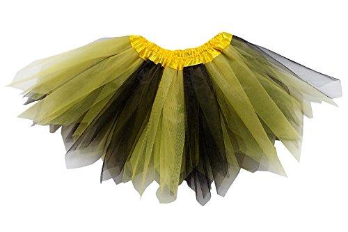 So Sydney Adult Plus Kids Size Pixie Fairy Tutu Skirt Halloween Costume Dress Up (M (Kid Size), Yellow & Black) ()