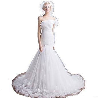 21fc047af25bc (HeartSunny) サイズオーダーメイドウェディングドレス マーメイド B240 アシンメトリーフリルビスチェ 折り目 編み上げ トレーン