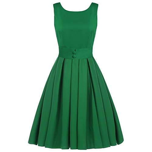 56041cbae886 ACEVOG Women's Vintage Audrey Hepburn 50's Inspired Rockabilly Swing  Cocktail Dress chic