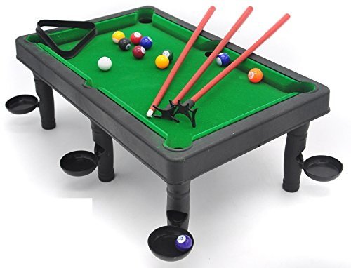 (Mini Snooker Set - Train Your Little Champ into Being a Pool Expert, with Colorful Balls and 3 Different Junior cue Tips; Hitting and Soaring on The Green Pool Table, Fun time of Learning Strategy)