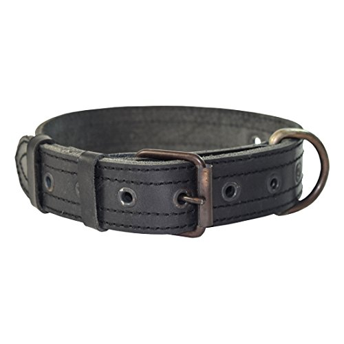 Thick Leather Dog Collar For Medium Size Dog (10 to 19 Inches) Handmade by Hide & Drink :: Charcoal - Link Tracking Direct Number