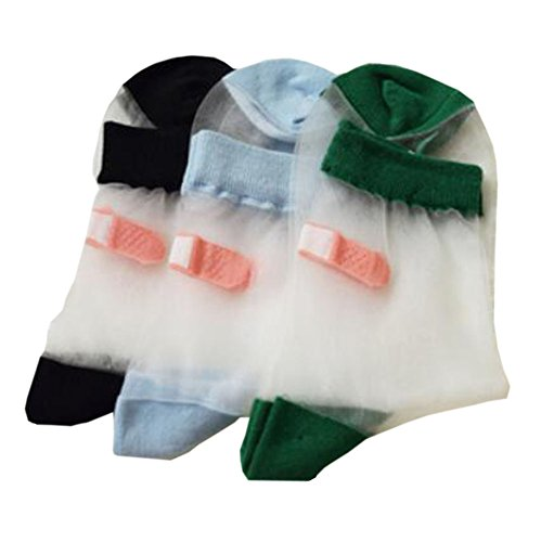 レディーススウィートヒールポストシアーファッションソックス3ペア