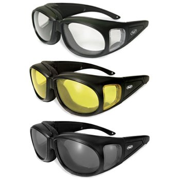 Three (3) Pairs Motorcycle Safety Sunglasses Fits Over Rx Glasses Smoke, Clear, and Yellow Day & Night & Gun Range! Usage Meets ANSI Z87.1 - Prescription Motorcycle Glasses