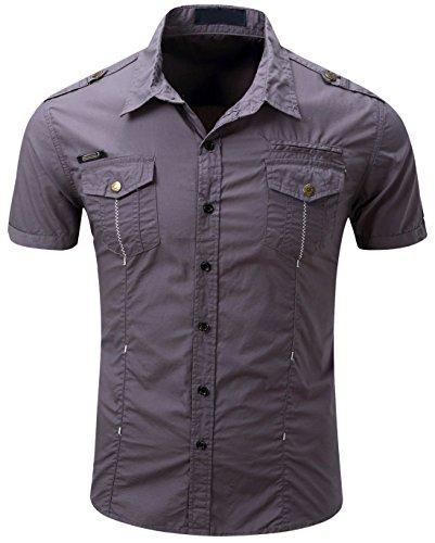 Men's Military Stylish Button Front Slim Fit Short Sleeve Cotton Shirts (Medium, ()