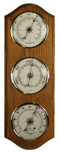 Weather Station Barometer Thermometer Hygrometer in a Oak Wood Case -
