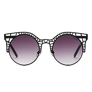 Quay Australia FLEUR Women's Sunglasses Cutout Metal Cat Eye Frame - Black/Smoke
