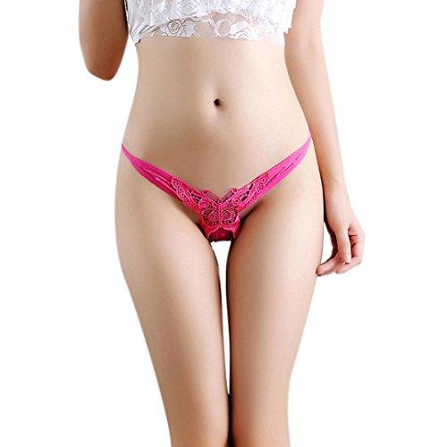 Tenworld Women Sexy Underwear Lingerie Butterfly Pearl V-string G-string (Hot Pink 2)