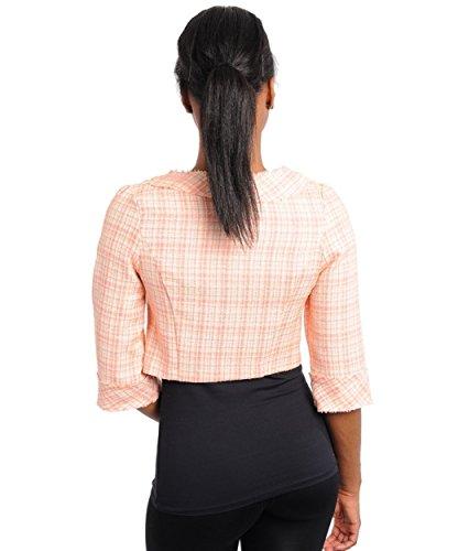 2LUV Women's Plaid Cropped Frayed Blazer Peach S(B30912S)