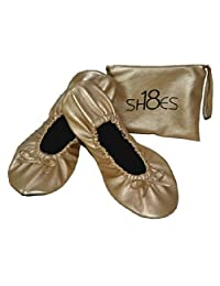 Shoes 18 Women's Foldable Portable Travel Ballet Flat Shoes w/ Matching Carrying Case