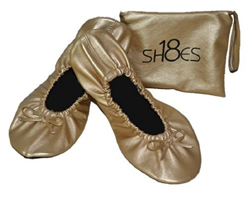 Shoes 18 Women's Foldable Portable Travel Ballet Flat Shoes w/ Matching Carrying Case (9/10, Gold sh18-1)