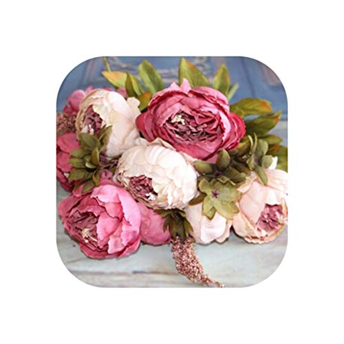 Wedding Home Party Decoration Silk European 1 Bouquet Artificial Flowers Fall Vivid Peony Fake Leaf,Pink ()