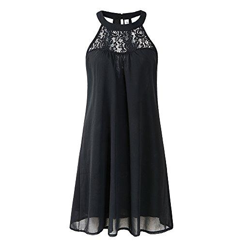 ZENboo Women's Chiffon Sleeveless Short Dress Lace Patchwork Loose Casual Mini Tank Dress 2018 Summer (XXL, Black)