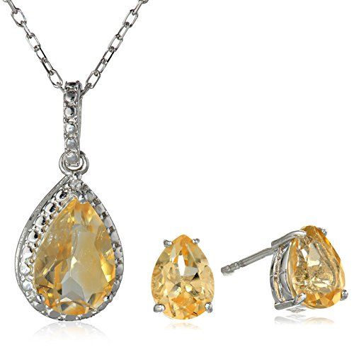 Sterling Silver with Citrine and Diamond Earrings and Pendant Necklace Jewelry Set