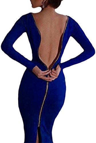Manica Colore Posteriore Aderente Jaycargogo Cerniera Solido Lunga Blu Fit Di Sexy Scuro Slim Femminile Vestito wXx0az