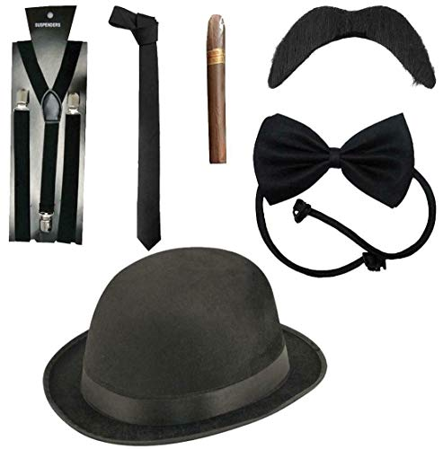 Mens 1920s Fancy Dress Mafia Al Capone Set Deluxe 6 Piece Gangster Costume Kit One Size]()