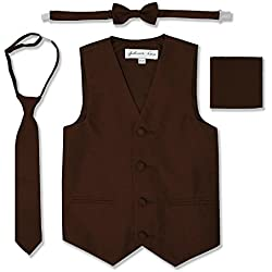JL34 Boys Formal Tuxedo Vest Set (10, Brown)