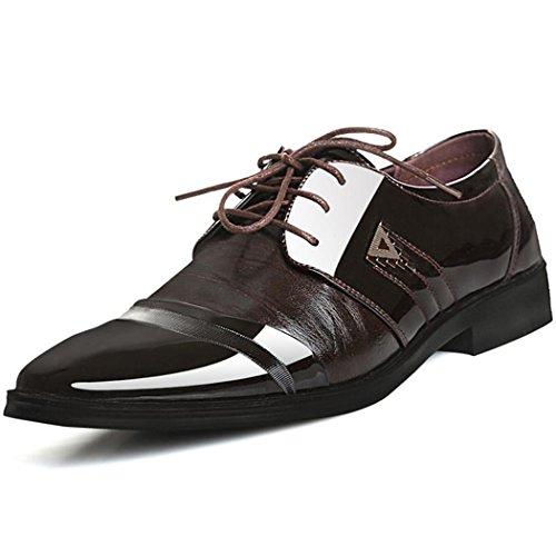 JINGJING Mens Patent Leather Formal Dress Shoes Business Lace-up Cap Toe Oxfords