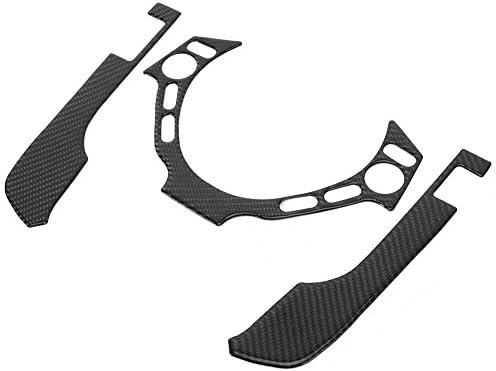 Qiiluダッシュボードカバートリム、3個のステアリングホイールトリムカーボンファイバーインテリアボタンカバーGTR R35 08‑16に適合