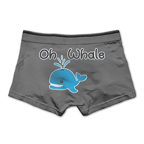 Men's Oh Whale Underwear Fashion Boxer Briefs Cotton Stretch Low Rise Trunks M Ash
