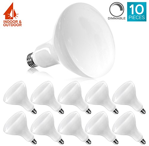 Luxrite BR40 LED Light Bulbs, 85W Equivalent, 3500K Natural White, Dimmable, 1100 Lumen, LED Flood Light Bulb, 14W, E26 Medium Base, Indoor/Outdoor - Perfect for Office and Recessed Lighting (10 Pack)