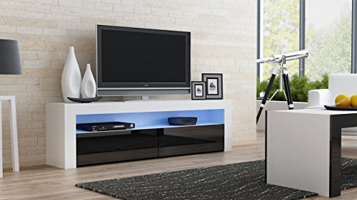 TV Console MILANO Classic WHITE - TV stand up to 70-inch flat TV screens – LED lighting and High Gloss finish front doors – Mesa TV Milano para televisores hasta 70 pulgadas (White & Black) by Concept Muebles