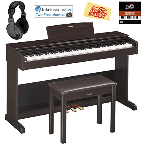 Yamaha YDP-103R Arius Console Digital Piano - Dark Rosewood Bundle with Furniture Bench, Headphones, Online Lessons, Austin Bazaar Instructional DVD, and Polishing Cloth