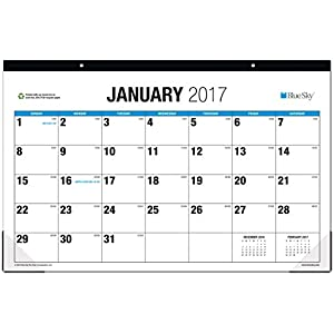 Blue Sky 2017 Monthly Desk Pad Calendar, 17