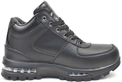 (LABO Men's Black Hiking Leather Boot Air Heel (5712-13, BLACK))