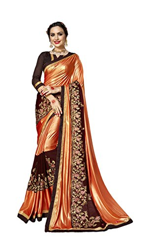 Silk Spandex Georgette Dress (Indian Latest Designer Lycra And Georgette Fabric Saree With Free Blouse)