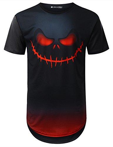 URBANTOPS Mens Hipster Hip Hop Skull Pumpkin Graphic Longline T-shirt BLACK, (Halloween Hipster)