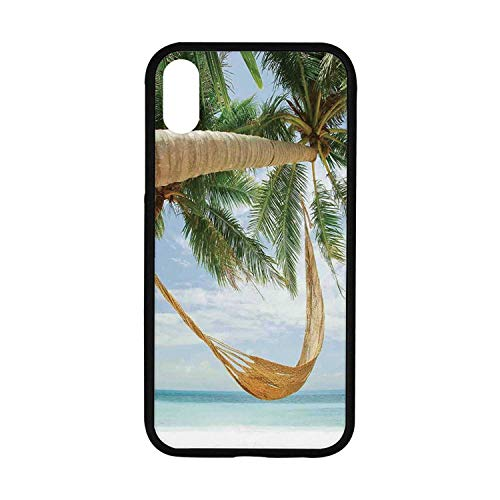 Tropical Rubber Phone Case,View of Nice Hammock with Palms by The Ocean Sandy Shore Exotic Artsy Print Decorative Compatible with iPhone XR