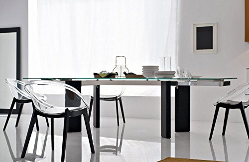 "Exquisite ""Tower"" top glass, chromed frame, graphite wooden extending dining table by Calligaris."