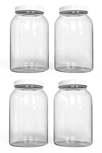 KombuJars 1 Gallon Glass Jar (4 Pack) Airtight Lined Seal Plastic Lid Cap, Wide Mouth Jars, Brewing Fermenting Kombucha, Storage Bottles Kefir Canning, Clear, Multi-use