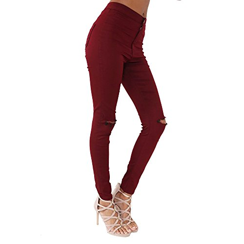 Skinny Plus Fit Knee Chic Comfy Simply Waist Womens Slim Jeans Tube Outlet Wine High Trousers Ripped Denim Size New wqASIA8