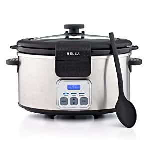BELLA 13722 Programmable Slow Cooker with Locking Lid, 6-Quart, Stainless Steel and Black