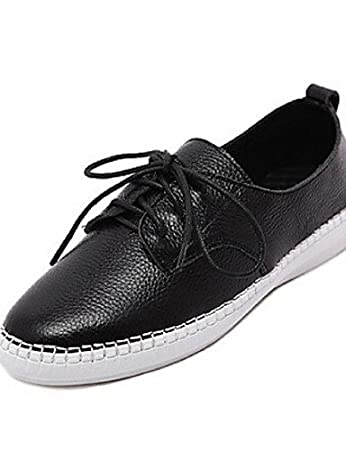 Womens Shoes Flat Heel  Closed Toe  Casual  Black White Fashion Trainer  Leather