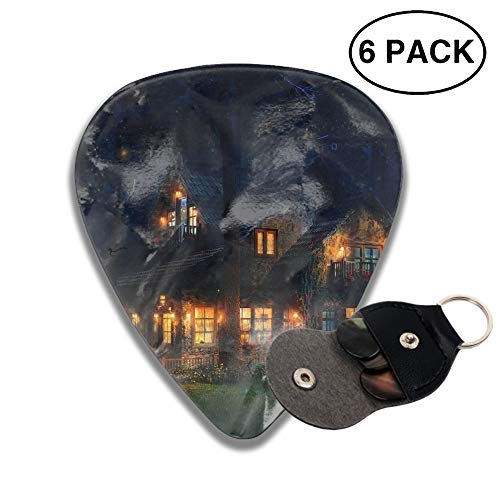 Celluloid Guitar Picks 3D Printed Artistic House Cottage Fantasy Firefly Forest Tree Night Best Guitar Bass Gift For Student