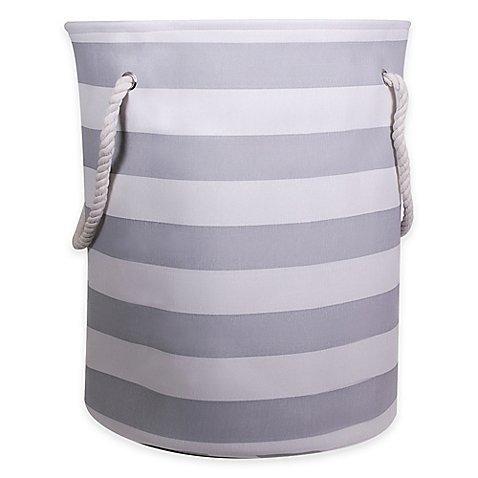 Striped Canvas Fabric Hamper in Grey- 17'' L X 17'' W X 20'' H