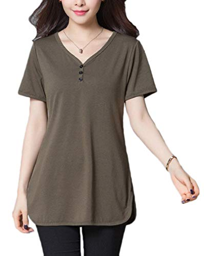 She's Style Women's Cotton Button Short Sleeve T-Shirt Tunic Tops Casual Blouse Shirts Coffee US 12-14
