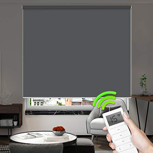 Motorized Window Roller Shades Blinds Remote Control Wireless and Rechargeable -100% Blackout Waterproof Fabric Window Shades for Smart Home and Office Customized Size (Dark Gray)