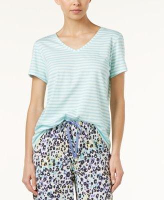 HUE Women's Short Sleeve V-Neck Sleep Tee, Aruba Blue, Small