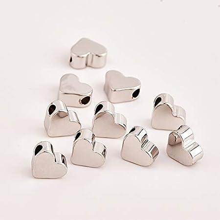 60 x Gemischte Herzperlen zur Schmuckherstellung Beads Spacer Basteln Deko Gold
