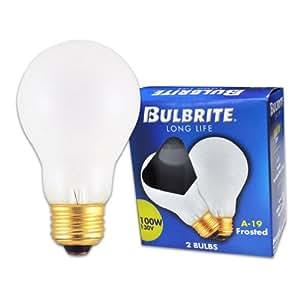 Bulbrite 100A 100-Watt 130-Volt Long Life Standard Incandescent A19 2-Pack, Frost