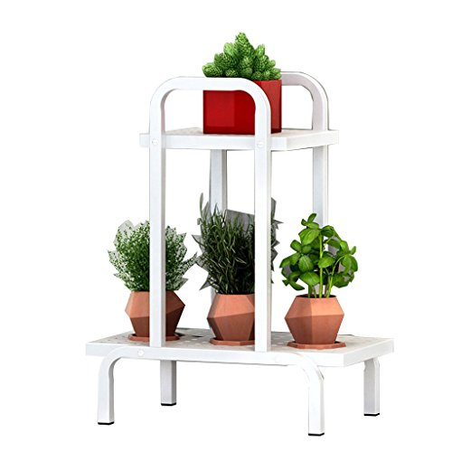 (LYXPUZI Flower Frame Wrought Iron Multi-Layer Indoor Flower Shelf Balcony Shelf Living Room Green Flower Pot Rack Plant Stand (Color : White, Size : E-120X100X28cm))
