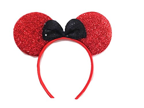 MeeTHan Mickey Mouse Minnie Mouse Ears Headband Sparking Red Black: M1 (Red-S)