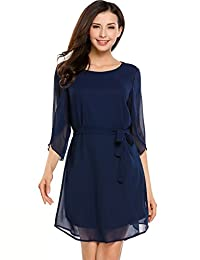 ACEVOG Holiday Half Sleeve Flowy Chiffon Mini Dress for Women