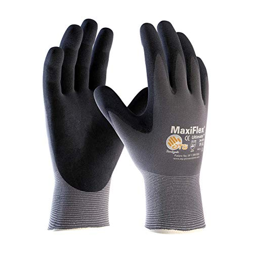 ATG MaxiFlex 34-874/L Ultimate - Nylon, Micro-Foam Nitrile Grip Gloves - Black/Gray - Large - 3 Pair Per Pack ()