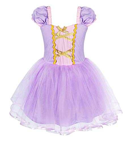 Cotrio Princess Rapunzel Dress Up Girls Halloween Costumes Birthday Party Fancy Dresses Cosplay Outfits Tutu Size 18M (12-18 Months, Purple, 90)