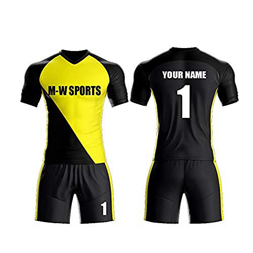 Custom red/White Sport Jerseys Set Full Sublimated Customize Team Soccer Uniform add Your Team Name and Numbers (M, Black-Yellow)